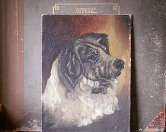Vintage Original Dog Painting on Canvas - Unsigned