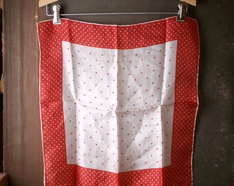 Vintage Red and White Polka Dot Square Silk Handerchief - Preppy Retro Purse Scarf