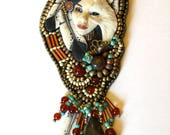 Reserved for wildflowerfemme. Shapeshifter Bead Embroidered Necklace, Porcelain Laura Mears Cabochon Amy Johnson NV1051
