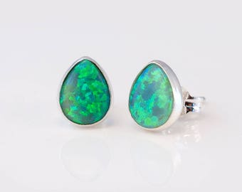 Green Opal Stud Earrings - Opal Earrings - Tear Drop Birthstone Studs - Gemstone Studs - Sterling Silver Studs - Tiny Dainty Earrings