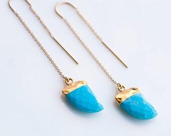 Gemstone Horn Threader Earrings - Turquoise Earrings- Gold Ear Thread Earrings - Ear Threader Earrings - Minimal - Long Thin Earrings