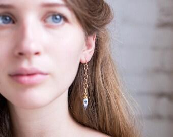 Dendrite Opal Spike Earrings, Gold Edgy Earrings, Gemstone Spike, Statement Earrings, Modern Jewelry, Unique Gift for Friend, Hammered Gold