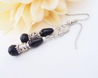 Black Drop Earrings, Gift for Her, Czech Glass Beaded Earrings, Boho Dangle Jewelry, Bohemian Earrings, Clip On Earrings, Stocking Stuffers
