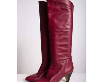 Vintage Etienne Aigner leather boots / 1980s Atlantic red oxblood knee high boots / 8