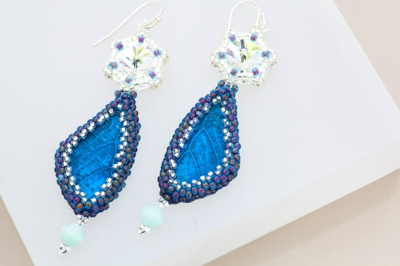 Butterfly Wing Earrings, Turquoise Blue Silver White Earrings, Ocean Blue, Statement Earrings, Long Dangle, Crystal White