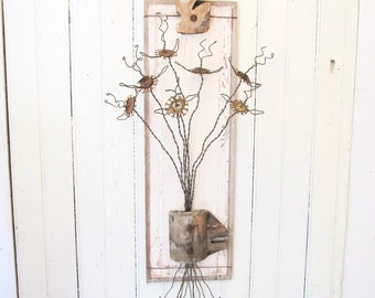 Wall Art Bouquet - Funky Bottle Cap and Wire Flowers - Reclaimed Chippy White Wood Panel - Architectural Salvage