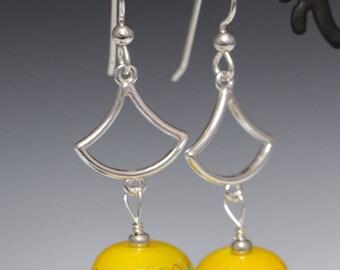Yellow with Green Orange Scroll Work Lampworking Glass sterling Silver Earrings