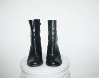 SALE! Until Feb 24th! Size US 8 / High-Top Calf Black Leather Boots