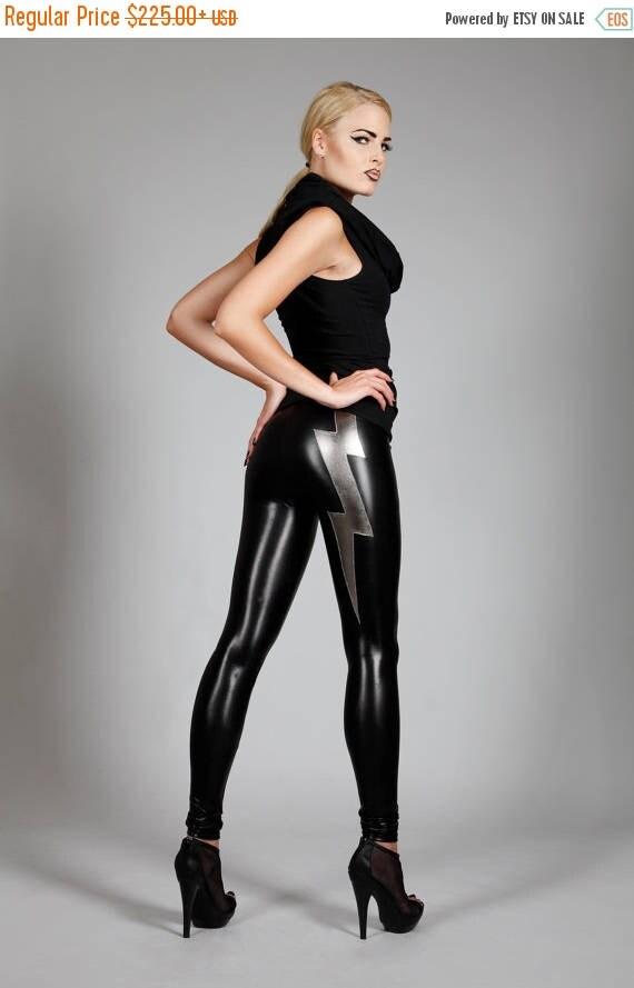 Yearly Sale: Lightning Bolt Leggings , Black Spandex Pants, Glam Rock Clothing, Heavy Metal, Stage Wear, David Bowie, Lady Gaga, by LENA QUI