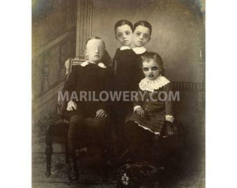 Creepy Halloween Decor, Oddities, 8x10 inch Print, Collage Art, Weird Two Headed Freaks Family