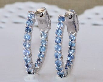 GENUINE Ceylon Blue Sapphire Hoop Earrings,Sapphire Gemstone Small Silver Hoop,Pave,May Birthstone,1.4 Carat,Inside Out Hoop,Women,Gift,OOAK