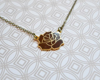 Vintage Brown Rose Enamel Necklace - Floral Jewelry - Vintage Enamel Jewelry - Rose Jewelry - Hard Enamel - Cloisonné