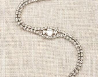 Vintage Bracelet  Silver Rhinestone Emerald Cut Gem Chain Costume Jewelry 7J