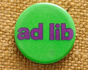 Ad Lib Button Vintage Green Purple Pin-Back Button Vtg Pin Pinback Button 7S
