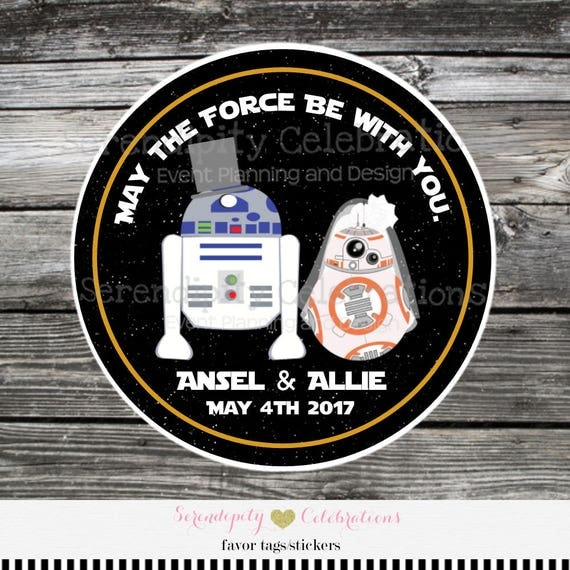 Star Wars Wedding Gifts: Wedding Favor Tags, Wedding Stickers, Set Of 12
