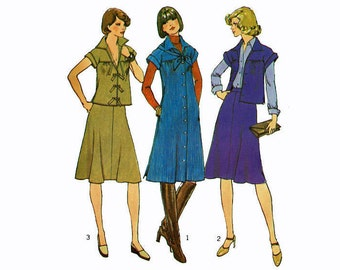 Misses Dress Top Bias Skirt & Scarf UNCUT Sewing Pattern Size 12 Bust 34 1970s Simplicity 7182