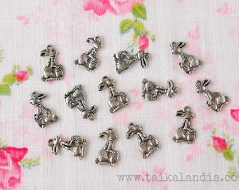 Bunny With Egg Charms 10pcs, Rabbit Charms, Bunny Pendants, Antique Silver Charms, Rabbit Pendants, Easter Charms, Nickel Free