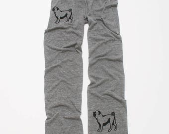 cute as a button Pug Pants, Yoga Pants, Lounge Pants, S,M,L,XL
