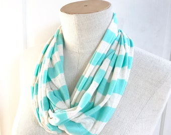 SALE Jersey Knit Infinity Scarf.  Aqua and Oatmeal Stripe. Spring Summer Autumn Accessory.