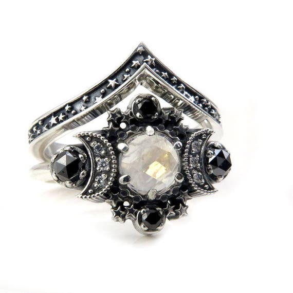 Rainbow Moonstone Cosmos Moon Engagement Ring Set - Sterling Silver