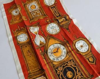 Vintage Dead Stock Linen Tea Towel Robert Martin Antique Clock Clocks Signed KayDee Kitchen Towel