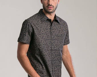 Psychedelic Mens Button Up Shirt In Black, Lsd Molecule All Over Print Short Sleeve Button Down Shirt Mens Clothing