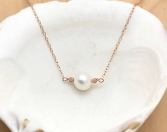 Large Freshwater Pearl and 14k Rose Gold Filled Necklace