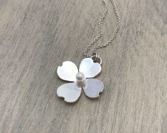 Sterling Silver Dogwood Flower Pendant with Freshwater Pearl