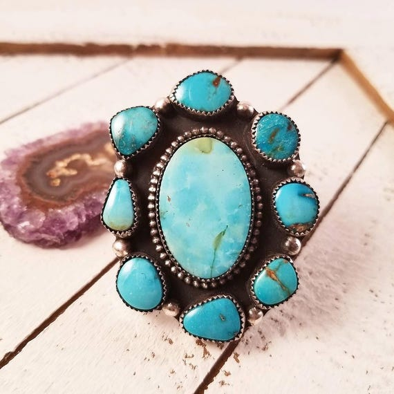 Handmade High Grade Turquoise Mountain Cluster Ring, Sterling Turquoise Statement Ring Size 8.25