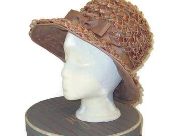 1960s Taupe Hat, Lampshade Hat, Ribbon Hat Black, Brown Bucket Hat, 60s Dress Hat, Vintage Womans Hat, Vintage 60s Hat, Spring Hat