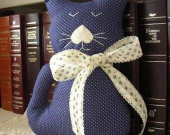 Handmade Stuffed Cat - Blue Polka Dot Fabric Kitty Pillow - Shabby Cottage Chic Home Decor - Cat Lover Gift - Decorative Cat Doll