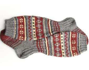 EU Size 37.5-39 - High Knee Hand Knitted Fair Isle Socks - 100% Natural Wool - Warm Autumn Winter Clothing