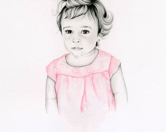 Custom Portrait Watercolor Painting Portrait of your Daughter Son Baby Portrait Fine Art Memento Keepsake Pencil Portrait Unique Portrait