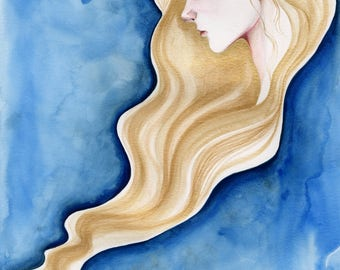 One of a Kind Blue Gold Art Fine Art Blue Gold Painting Original Painting of a Women Girl Gift for Her Fantasy Watercolor Painting of a Girl