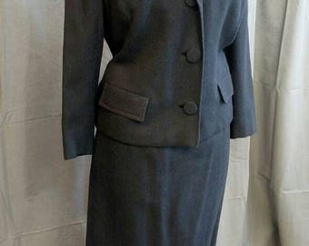 1960s Vintage Navy Blue Suit by Suitmaster - 60s Jacket and Skirt in Navy Blue - Size 10 -  Women's