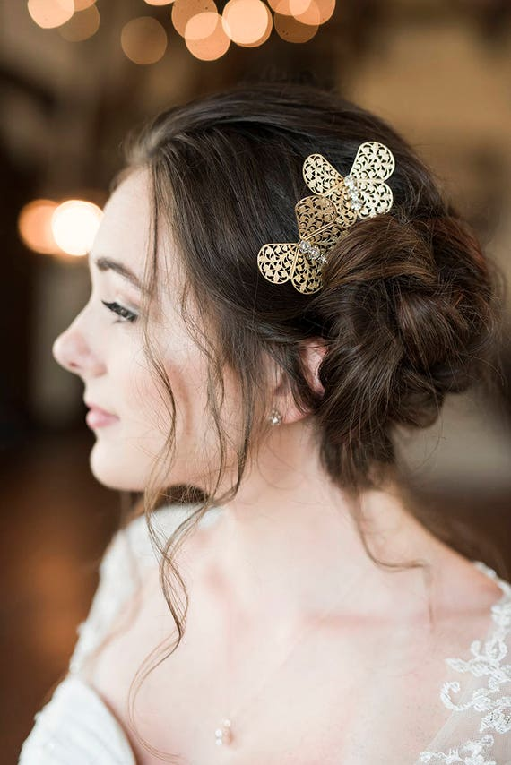 Gold Butterfly Hair Pins, Butterfly Hair Clips, Wedding Hair Pins, Gold Butterfly, Rhinestone Hair Pin, Butterfly Bobby Pins HARMONY