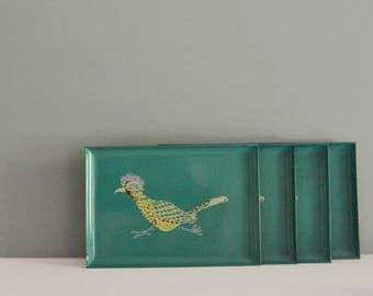 Small Vintage Road Runner Trays - Snack Mini Tray Bird Birds Southwestern Mid Century Teal Courac