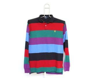 Vintage Striped Ralph Lauren Polo Shirt Mens Medium Unisex Womens 80s 90s Long Sleeve Multi Color Block Roy G Biv Hip Hop Made In USA