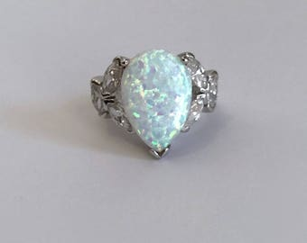 Vintage Sterling Silver White Opal and Marquise Estate Jewelry Ring Pear Opal White Stone Marquise Multi Stone Opal Ring