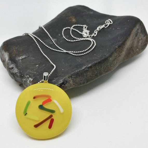 Yellow Abstract Line Glass Pendant with Silver Chain