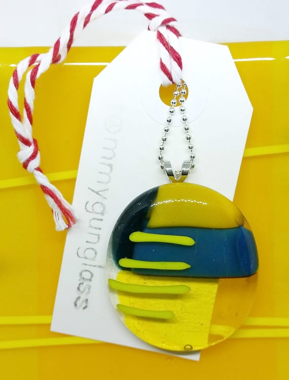 Glass Pendant with Silver Chain, Yellow and Blue