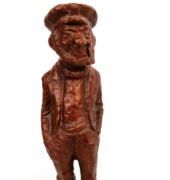 Vintage 1982 Red Mill Crushed Pecan and Resin Figurine of Gentleman Fisherman