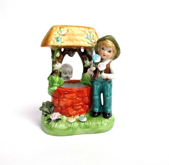 Vintage 1960's Boy and Dog At Idyllic Floral The Well Figurine