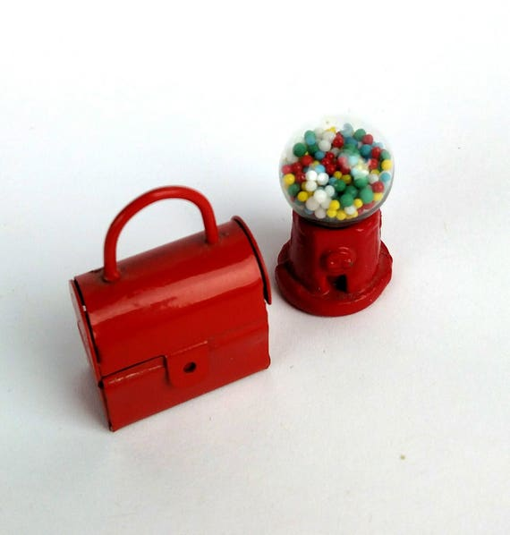 Vintage 1960's Doll Size Miniature Metal Lunchbox and Gumball Machine
