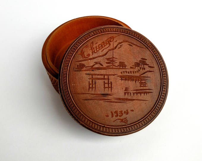 Vintage 1934 Hand Carved Round Box Made in Japan