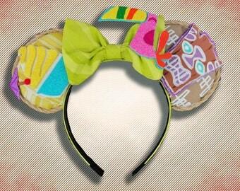 Tiki and Pineapple Whip Mouse Ear Headband w Bow