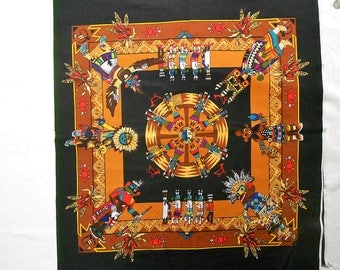 Kachinas on Square Black Fabric