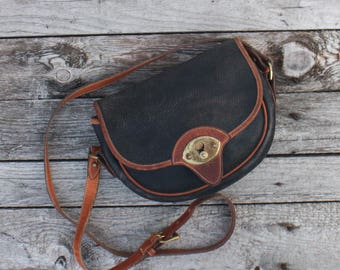 Dooney and Bourke AWL Cavalry Body Bag Blue Pebbled Leather with British Tan Trim