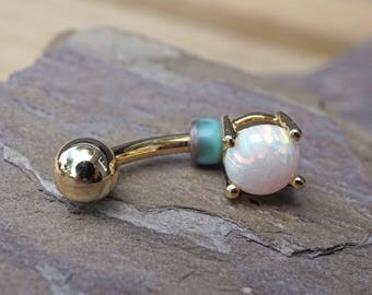 Gold Belly Button Ring White Opal Prong Set