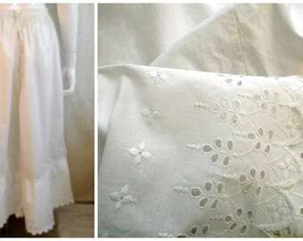 Vintage 1900s Petticoat White Long Cotton Skirt Victorian Large Size Eyelet Trim 34 waist